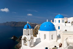 Famous Santorini churches Royalty Free Stock Photos