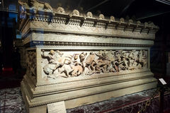 The famous sarcophagus of Alexander in the Istanbul Archaeology. The famous sarcophagus of Alexander in the Archaeology Museums on may 25, 2013 in Istanbul Royalty Free Stock Photography