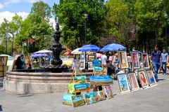 The famous Saturday Bazaar at the San Angel neighborhood in Mexico City. MEXICO CITY,MEXICO - JULY 14,2018 : The famous Saturday Bazaar at the San Angel royalty free stock image