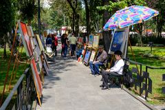 The famous Saturday Bazaar at the San Angel neighborhood in Mexico City. MEXICO CITY,MEXICO - JULY 14,2018 : The famous Saturday Bazaar at the San Angel stock photo