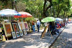 The famous Saturday Bazaar at the San Angel neighborhood in Mexico City. MEXICO CITY,MEXICO - JULY 14,2018 : The famous Saturday Bazaar at the San Angel stock image