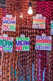 The famous sausages from Vigan, Philippines. The famous sausages from Vigan on a market, Baguio, Luzon Royalty Free Stock Photo