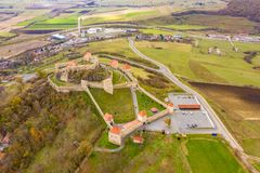 Famous Saxon medieval fortress Rupea in Transylvania, between Br stock photography