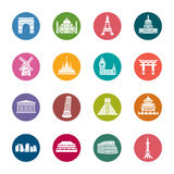 Famous Scenic Spots Color Icons Stock Images