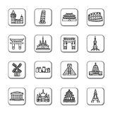Famous Scenic Spots Doodle Icons Stock Photography