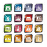 Famous Scenic Spots Icons Stock Photography