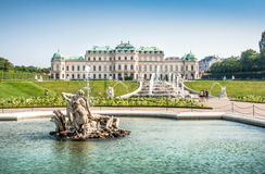 Famous Schloss Belvedere in Vienna, Austria. Beautiful view of famous Schloss Belvedere, built by Johann Lukas von Hildebrandt as a summer residence for Prince Royalty Free Stock Photos
