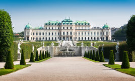 Famous Schloss Belvedere in Vienna, Austria. Beautiful view of famous Schloss Belvedere, built by Johann Lukas von Hildebrandt as a summer residence for Prince Stock Images
