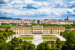 Famous Schonbrunn Palace with Great Parterre garden in Vienna, Austria stock images