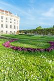 Schönbrunn. Famous Schonbrunn Palace in Vienna, Austria. The Baroque palace is one of the most important architectural, cultural, and historical monuments in Stock Photos