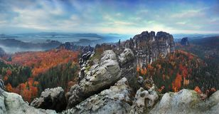 The famous Schrammsteine and the Lilienstein, Panorama view at the Elb Sandstone Mountains, Germany. stock image