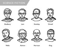 Famous science fiction writers, vector portraits, Bradbury, Lem, Sheckley, Orwell, Wells, Asimov, Harrison, King Stock Photos