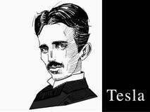 Famous scientist Tesla, hand draw portrait Stock Images
