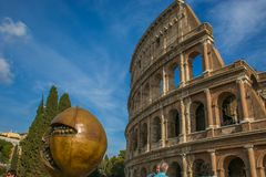 The famous sculpture of Giuseppe Carta of pomegranate near the Colosseum of Rome Stock Photo