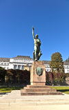 Famous sculpture of mayor Joseph Goerres in Koblenz at the river Royalty Free Stock Image