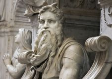 Famous sculpture of  Moses by Michelangelo. Rome, Italy - June 20, 2011: Famous sculpture of  Moses by Michelangelo, part of the tomb of Pope Julius II, located Royalty Free Stock Images
