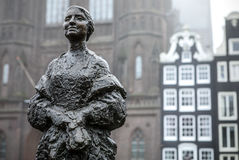 Famous sculptures of Amsterdam city centre close-up at cloudy day. General landscape view of city monuments. AMSTERDAM, NETHERLANDS - JANUARY 04, 2017: Famous stock photo