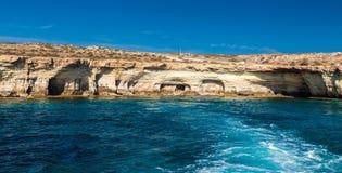 Famous sea caves near Ayia Napa Royalty Free Stock Photo