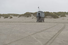 Famous sea cottage Het Drenkelingenhuisje Terschelling on the ne Royalty Free Stock Photos