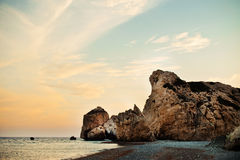 Famous seascape of the Rock of Aphrodite beach at Stock Photography