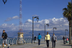 The famous seaside Corniche, Beirut, Lebanon. Royalty Free Stock Photo