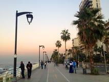 The famous seaside Corniche on sunset, Beirut, Lebanon Stock Image