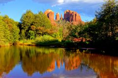 Famous Sedona red rock scene royalty free stock images
