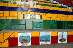 The famous Selaron Steps has 215 steps covered in over 2000 tiles collected from over 60 countries around the world stock photos