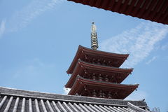 Famous Senso-Ji, Japanese temple  in Asakusa, Tokyo with its typical pagoda and all oriental architectural elements Stock Photography