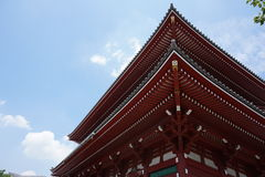 Famous Senso-Ji, Japanese temple  in Asakusa, Tokyo with its typical pagoda and all oriental architectural elements Royalty Free Stock Photo
