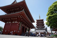 Famous Senso-Ji, Japanese temple  in Asakusa, Tokyo with its typical pagoda and all oriental architectural elements Royalty Free Stock Image