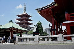 Famous Senso-Ji, Japanese temple  in Asakusa, Tokyo with its typical pagoda and all oriental architectural elements Royalty Free Stock Images