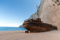 Famous shipwreck at Zakynthos, Greece. The back side of zakynthos shipwreck royalty free stock images