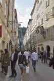 Famous shopping street Getreidegassen in Salzburg, Austria. Stock Image