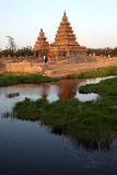 Famous shore temple Mahabalipuram, Tamil Nadu, India. Famous shore temple with thousands of sculptures - Shore temple the UNESCO world heritage site in Stock Photo