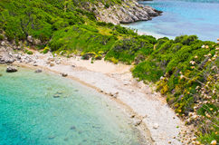 Famous 2 side Porto Timoni beach, Corfu, Greece Royalty Free Stock Images