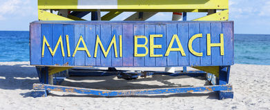 Famous sign on the beach in Miami Royalty Free Stock Image