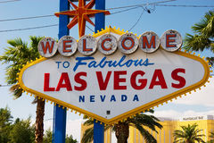 Famous sign welcoming visitors to Las Vegas, Nevada. USA royalty free stock photo
