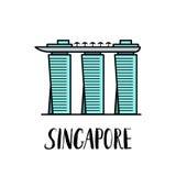 Famous Singapore landmark Marina bay Sands with modern lettering. Famous Singapore landmark illustration royalty free illustration