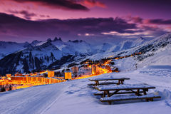 Famous ski resort in the Alps,Les Sybelles,France. Evening landscape and ski resort in French Alps,La Toussuire,France Stock Images