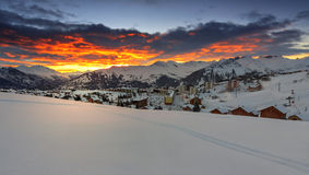 Famous ski resort in the Alps,Les Sybelles,France. Beautiful morning landscape and ski resort in French Alps,La Toussuire,France Royalty Free Stock Photography