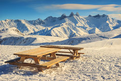 Famous ski resort and beautiful peaks,Aiguilles D'Arves,Les Sybelles,France Stock Images