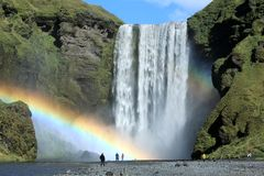 Famous Skogafoss waterfall in Iceland. With  rainbow Stock Image