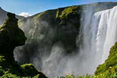 Famous Skogafoss Waterfall, Iceland, view from neighboring hill Stock Photography