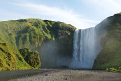 Famous Skogafoss waterfall in summer, South Iceland Stock Image