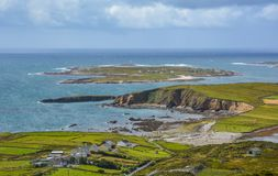 The famous Sky Road near Clifden, County Galway, Ireland. Clifden is a coastal town in County Galway, Ireland, in the region of Connemara, located on the stock photography