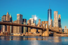 Famous Skyline of downtown New York City at early morning light Stock Photography