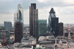 Famous skyscrapers of London's financial district Stock Photo