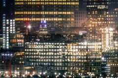 Famous skyscrapers of New York at night. stock photography