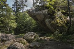 The `Slant Rock` Boulder In the Adirondack Mountains Royalty Free Stock Photography